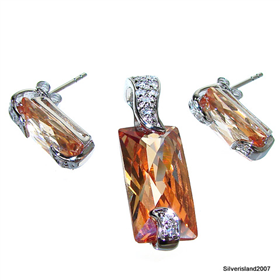 Artisan Stunning Honey Topaz Sterling Silver Set