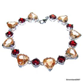 Glamorous Garnet and Honey Topaz Sterling Silver Bracelet