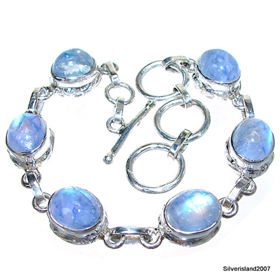 Blue Rainbow Moonstone Sterling Silver Bracelet