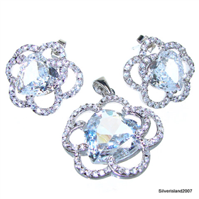 Charming White Topaz Sterling Silver Set