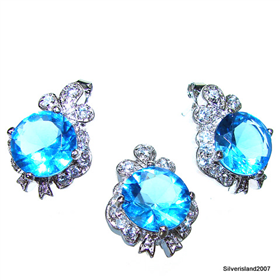 Incredible Blue Topaz Sterling Silver Set