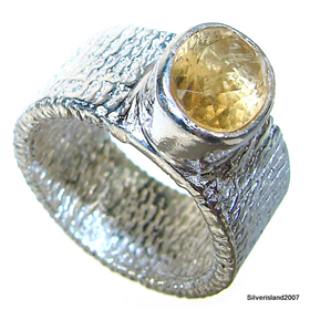 Sunny Citrine Sterling Silver Ring size N 1/2