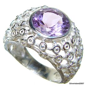 Royal Amethyst Sterling Silver Ring size P 1/2