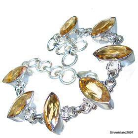Fantastic Genuine Citrine Sterling Silver Bracelet