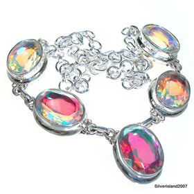 Rainbow Madagascar Fire Quartz Sterling Silver Necklace 16 inches long