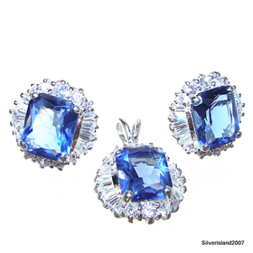 Incredible Blue Topaz Sterling Silver Set