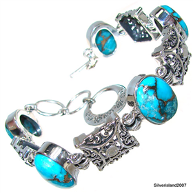 Solid Copper Turquoise Sterling Silver Bracelet