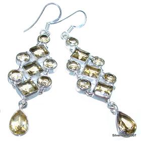 Large Royal Citrine Sterling Silver Earrings