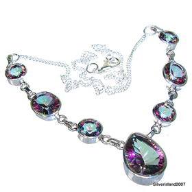 Wonderful Mystic Topaz Sterling Silver Necklace 16 inches long