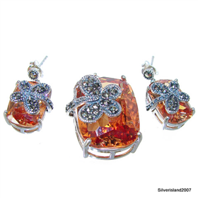 Chunky Artisan Stunning Honey Topaz Sterling Silver Set