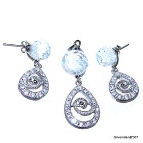 Charming White Topaz Quartz Sterling Silver Set