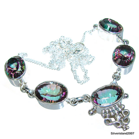 Mystic Topaz Sterling Silver Necklace 19 inches long
