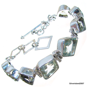 Incredible Design! Green Amethyst Sterling Silver Bracelet