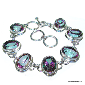 Chunky Incredible Mystic Topaz Sterling Silver Bracelet