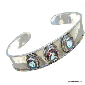 Mystic Topaz Sterling Silver Bangle