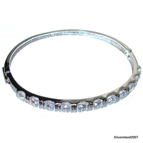 Magnificent White Topaz Sterling Silver Bangle Bracelet size free