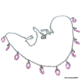 Pink Topaz Sterling Silver Necklace lenght 16 inches