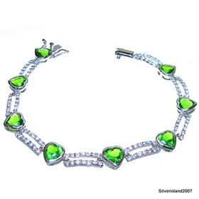 Elegant Peridot Quartz Sterling Silver Bracelet