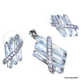 Charming White Topaz Sterling Silver Set
