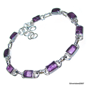 Incredible Design! Amethyst Sterling Silver Bracelet
