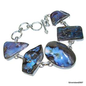 Chunky Boulder Opal Sterling Silver Bracelet