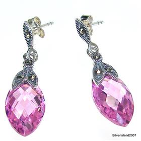 Pink Topaz Sterling Silver Earrings Jewellery