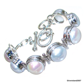 Incredible Freshwater Pearl Sterling Silver Bracelet