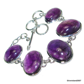 Large Incredible Design! Amethyst Sterling Silver Bracelet