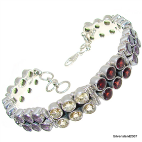 Glamorous Multigem Sterling Silver Bracelet