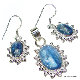 Chunky Heavenly Kyanite Sterling Silver Set