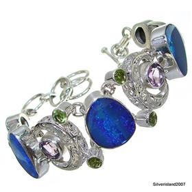 Fire Opal Sterling Silver Bracelet