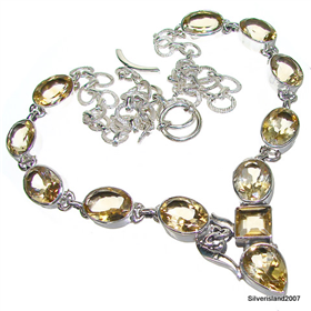 Terrific Citrine Sterling Silver Necklace 20 inches long