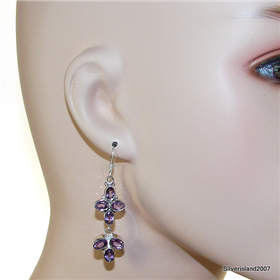 Chunky Royal Amethyst Sterling Silver Earrings