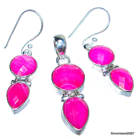 Sweet Pink Botswana Agate Sterling Silver Set