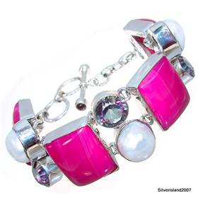 Chunky Botswana Agate Sterling Silver Bracelet
