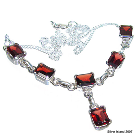 Elegant Garnet Sterling Silver Necklace 14 inches long