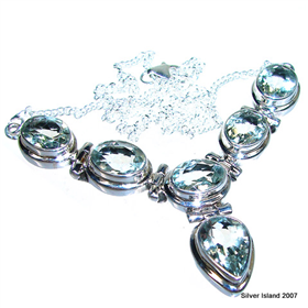 Green Amethyst Sterling Silver Necklace 16 inches Long