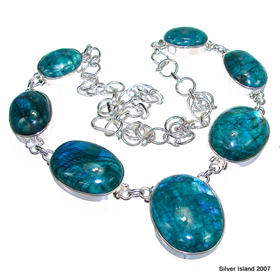 Elegant Green Moonstone Sterling Silver Necklace 18 inches long
