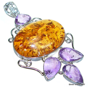 Giant Honey Amber Sterling Silver Pendant