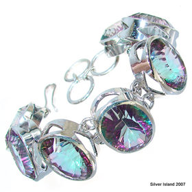 Chunky! Incredible Mystic Topaz Sterling Silver Bracelet