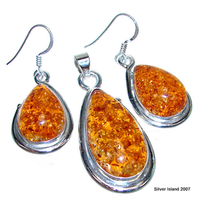 Finest Quality Amber Sterling Silver Set Jewellery