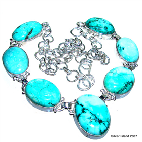Finest Quality Turquoise Sterling Silver Necklace 17 inches long