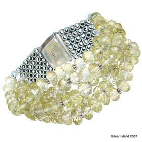 Chunky Fantastic Citrine Sterling Silver Bracelet
