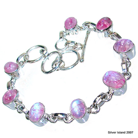Red Rainbow Moonstone Sterling Silver Bracelet