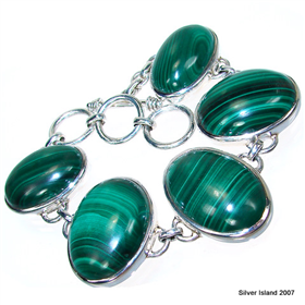 Chunky Incredible Malachite Sterling Silver Bracelet