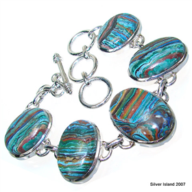 Chunky Rainbow Calsilica Sterling Silver Bracelet