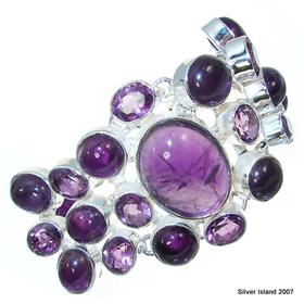 Massive Incredible Design! Amethyst Sterling Silver Bracelet