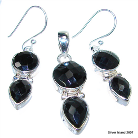 Extravagant Fabulous Black Onyx Sterling Silver Set