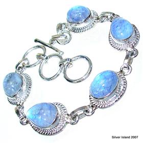 Blue Rainbow Moonstone Sterling Silver Bracelet