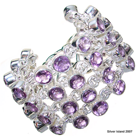 Massive Incredible Design! Amethyst Sterling Silver Bracelet